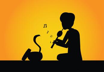Snake charmer and cobra in silhouette vector art