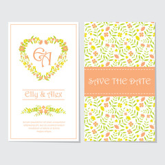Wedding invitation card vector design template with orange and yellow flower love wreath for wedding postcard and stationery paper