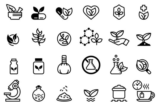 Herb medicine icon concept. Treatment with natural extracts. Plant products. Research on the invention of pharmaceuticals.