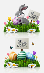 Easter greeting card with a little rabbit, colorful eggs, and flowers in the grass