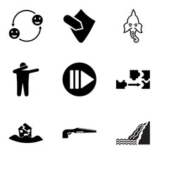 Set Of 9 simple editable icons such as waterfall, shotgun, earthquake, adaptability, next steps, dab, ganesh, penetration, adaptability, can be used for mobile, web UI