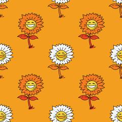 Sunflower seamless pattern. Original design for print or digital media.