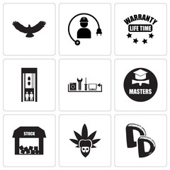 Set Of 9 simple editable icons such as double d, rastaman, free stock,, masters degree, appliance repair, elevator, lifetime warranty, electrical contractor, hawk, can be used for mobile, web UI