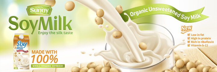 Soy milk pouring down