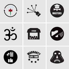 Set Of 9 simple editable icons such as star wars, lifetime warranty, convenient, coordination, free stock,, aum, masters degree, reach, fresh air, can be used for mobile, web UI