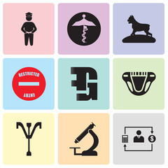 Set Of 9 simple editable icons such as accountant, pathology, psi, diaper, gf, restricted entry, pit bull, medicare, bachelor, can be used for mobile, web UI
