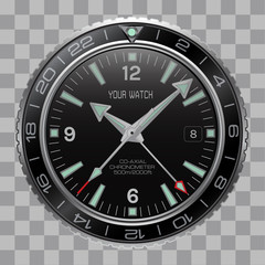 Realistic watch clock chronograph face stainless steel black dial on checkered pattern background vector illustration.