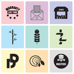 Set Of 9 simple editable icons such as masters degree, biodegradable, double d, jz, quality of life, bamboo, free stock,, grey email, lifetime warranty, can be used for mobile, web UI