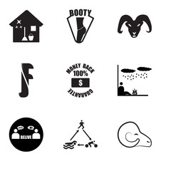 Set Of 9 simple editable icons such as rams, swim bike run, believe, survival, money back guarantee, ram, booty, house cleaning, can be used for mobile, web UI