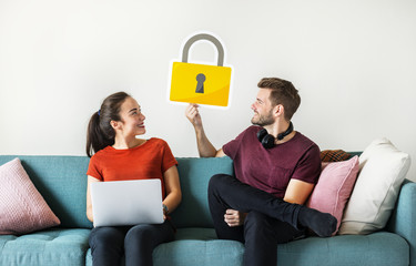 Couple with cyber security lock icon