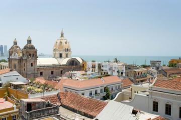 View of city with church of Iglesia de San Pedro Claver