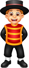 cute mexican men cartoon standing with laughing