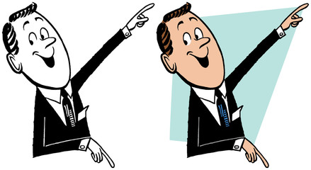A businessman pointing in two different directions.