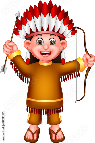Funny Indian Girl Cartoon Standing With Laughing Stock