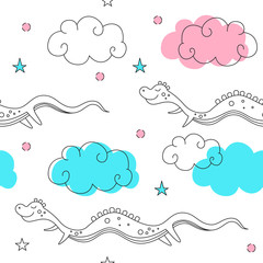 Vector seamless pattern in style of a fantasy. Flying snakes in the clouds