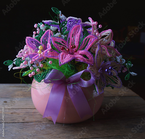 Dragonflies And Butterflies Handmade Beaded Flowers Made Of Paper