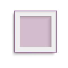 Realistic purple photo frame. Vector.