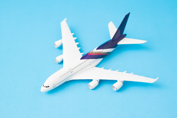 Airplane model on blue color background