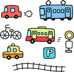 車と電車の手書きイラストセット