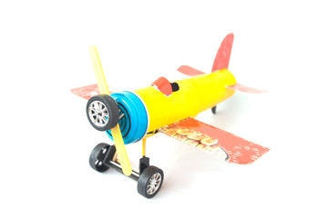 Airplane toy made from unused paper and garbage