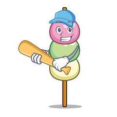 Playing baseball dango character cartoon style