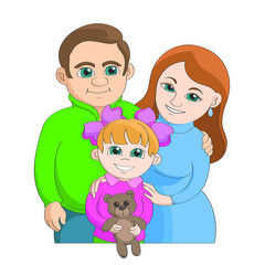 Happy parents with their young daughter stand together in an embrace. Daughter holds in the hands of Teddy bear. Young family on a white background.
