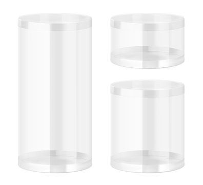 Set of translucent plastic jar with different proportions. Vector illustration on white background. Layered file, easy to use for food, gifts, candy. EPS10.