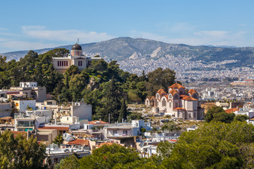 Church Agia Marina and National Observatory on the Hill of Nymphis in Athens, Greece