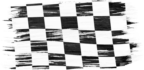 Closeup of art brush watercolor painting checkered black and white racing flag blown in the wind isolated on white.