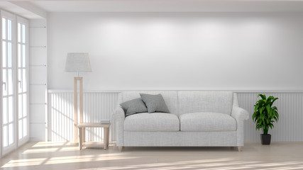 White sofa and lamp in room 3D illustration clean white wall interior background sunshine copy space in living room background