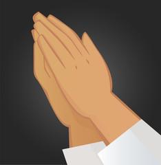 Praying hands. Illustration on black background.