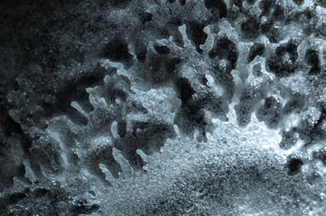 Abstract extraterrestrial landscape. Baking soda; vinegar chemical reaction product; sodium acetate; hot ice.