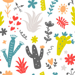Floral seamless pattern with colorful hand drawn wild cactus flowers