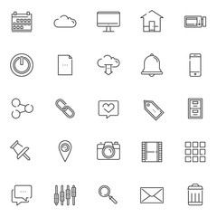 Essentials outline icons set. linear style symbols collection, line signs pack. vector graphics. Set includes icons as calendar, cloud, tv or monitor screen, video camera, home, notification bell