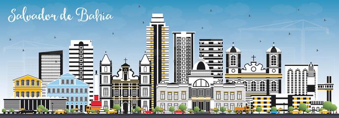 Salvador de Bahia City Skyline with Color Buildings and Blue Sky.