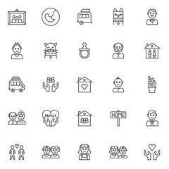 Family members outline icons set. linear style symbols collection, line signs pack. vector graphics. Set includes icons as picture in photo frame, pregnancy, caravan trailer home, grandfather, baby