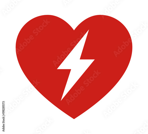 Red Automated External Defibrillator Aed Sign With Heart And