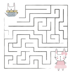 Cartoon Vector Illustration of Education Paths or Maze Game for Preschool Children with Children and Present. Vector
