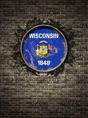 Old Wisconsin flag in brick wall