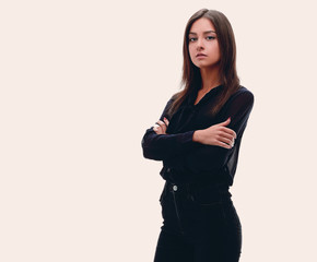 Young confident business woman. full-length portrait