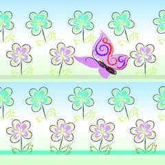 Vector seamless floral pastel pattern with butterfly and flowers drawn by hand