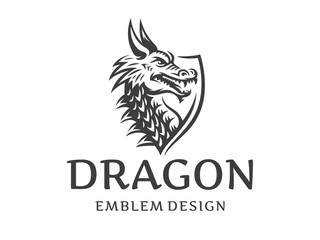 Vector head of a dragon in the form of a shield illustration, logotype, print, emblem design on a white background.