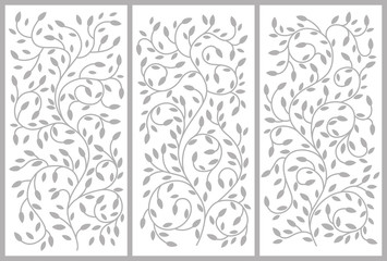 Flower ornament for a cabinet, partitions, doors, furniture. Bending growing branches and leaves. Vector drawing