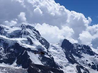 Monte Rosa massif, landscape of alpine mountains range in swiss Alps at SWITZERLAND