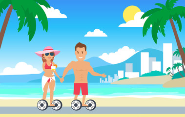 happy couple riding on hoverboard on the beach
