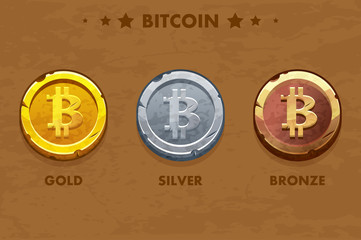 Isolated Gold, silver and bronze Bitcoin icon. Digital or Virtual cryptocurrency. coin and electronic cash.