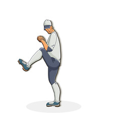 Vector illustration of a baseball player throwing the ball. Cute cartoon character.  Baseball pitcher.