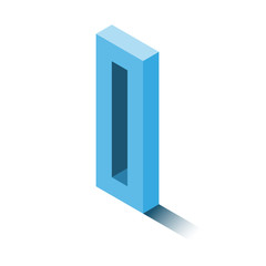 Isometric zero blue icon, 3d character with shadow