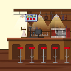 Bar counter. Pub beer tap pump, stools, shelves with alcohol bottles. Pub with beer glassesCartoon vector isolated illustration