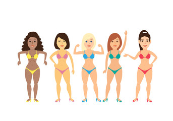 fitness women bodybuilders posing on white background